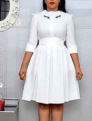 cheap -Women's Sheath Dress - 3/4 Length Sleeve Geometric Elegant White Yellow Green L XL XXL XXXL