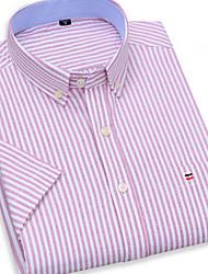 cheap -Men's Striped Plaid Print Shirt Daily Button Down Collar Blushing Pink / Short Sleeve