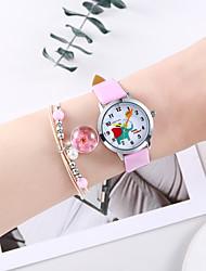 cheap -Girls' Quartz Watches Analog Quartz Animal Pattern Cartoon Chronograph Cute Creative / One Year / PU Leather