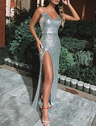 cheap -Sheath / Column Sexy Sparkle Engagement Formal Evening Dress Spaghetti Strap Sleeveless Floor Length Sequined with Sequin Split 2020