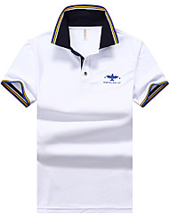 cheap -Men's Solid Colored Black Polo Basic Daily Work White / Blue / Yellow