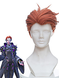 cheap -Overwatch Moira Cosplay Wigs Men's Asymmetrical 14 inch Heat Resistant Fiber Curly Orange Adults' Anime Wig