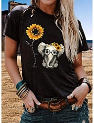 cheap -Women's Graphic Sun Flower Print Loose T-shirt Daily Wine / White / Black / Blue / Army Green / Green / Dark Gray / Navy Blue