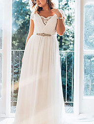 cheap -A-Line Wedding Dresses V Neck Sweep / Brush Train Chiffon Lace Short Sleeve Simple Plus Size with Ruched Crystal Brooch 2020