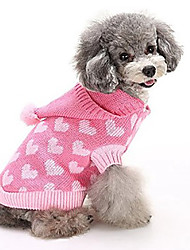 cheap -Cat Dog Sweater Sweatshirt Puppy Clothes Heart Casual / Daily Winter Dog Clothes Puppy Clothes Dog Outfits Warm Blue Pink Costume for Girl and Boy Dog Polar Fleece XS S M L XL 2XL