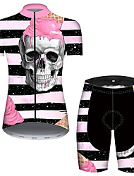 cheap -21Grams Women's Short Sleeve Cycling Jersey with Shorts Summer Black+White Stripes Sugar Skull Skull Bike Clothing Suit 3D Pad Ultraviolet Resistant Quick Dry Breathable Reflective Strips Sports
