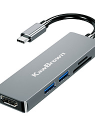 cheap -KawBrown 5 in 1 USB Hub USB-C to HDMI HUB PD Thunderbolt 3 Adapter for SD TF Card Reader Adapter 4K HDMI Charger Port