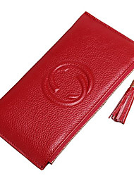 cheap -Women's PU Leather Wallet Solid Color Sillver Gray / Wine / Black