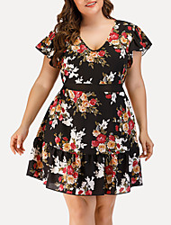 cheap -Women's A Line Dress - Short Sleeves Floral Print Mesh Patchwork Summer Casual Sexy Daily Going out 2020 Black L XL XXL XXXL XXXXL