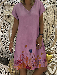 cheap -Women's A-Line Dress Knee Length Dress - Short Sleeves Floral Patchwork Summer V Neck Casual Vintage Daily Belt Not Included Oversized 2020 Blue Blushing Pink Khaki S M L XL XXL XXXL