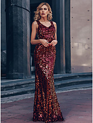 cheap -Mermaid / Trumpet Glittering Beautiful Back Wedding Guest Prom Formal Evening Dress Off Shoulder Short Sleeve Floor Length Polyester with Sequin 2020