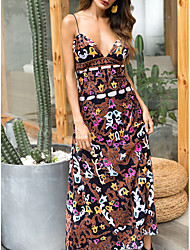 cheap -Women's Maxi A Line Dress - Sleeveless Floral Summer Strap Elegant 2020 Brown M L XL XXL