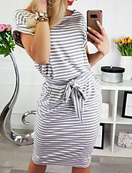 cheap -Women's A-Line Dress Dress - Short Sleeves Striped Patchwork Summer Fall Vintage Sexy Daily Going out 2020 Black Gray S M L XL XXL XXXL