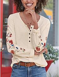 preiswerte -Damen Blumen T-shirt Alltag Weiß / Blau / Gelb / Rosa / Beige