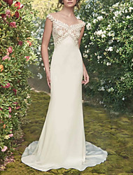 cheap -Mermaid / Trumpet Wedding Dresses Off Shoulder Sweep / Brush Train Chiffon Lace Cap Sleeve Vintage Sexy Wedding Dress in Color See-Through Backless with Sashes / Ribbons Embroidery 2020