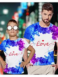 abordables -Papa et moi Actif Basique Graphique Lettre Manches Courtes Normal Tee-shirts Arc-en-ciel