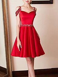 cheap -A-Line Cut Out Red Party Wear Cocktail Party Dress Spaghetti Strap Sleeveless Knee Length Satin with Pleats Crystals 2020