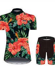 cheap -21Grams Floral Botanical Hawaii Women's Short Sleeve Cycling Jersey with Shorts - Black / Red Bike Clothing Suit Breathable Quick Dry Moisture Wicking Sports 100% Polyester Mountain Bike MTB Clothing