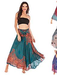 cheap -Women's High Waist Maxi Skirt Gypsy Dress Asymetric Hem Dress Quick Dry Breathable Bohemian Hippie Boho Burgundy Blue Khaki Yoga Fitness Pilates Sports Activewear