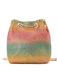 cheap -Women's Bags Polyester Evening Bag Crystals Chain Color Block Wedding Bags Wedding Party Event / Party Rainbow