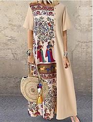 رخيصةأون -نسائي فستان سوينج فستان طويل - نصف كم هندسي بقع الربيع الخريف أناقة الشارع مناسب للبس اليومي كتان أسود كاكي S M L XL XXL XXXL XXXXL 5XL