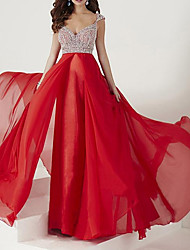cheap -A-Line Beautiful Back Sparkle Engagement Formal Evening Dress V Neck Sleeveless Floor Length Chiffon with Pleats Crystals 2020
