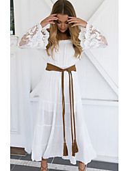 cheap -Women's Sheath Dress - Long Sleeve Solid Color Summer Elegant 2020 White Black S M L XL XXL XXXL