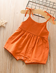 cheap -Baby Girls' Active Basic Solid Colored Backless Lace up Sleeveless Romper Orange