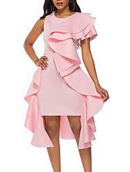 cheap -Women's A Line Dress - Sleeveless Solid Color Summer Street chic 2020 Yellow Blushing Pink S M L XL XXL