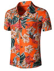 cheap -Men's Graphic Print Shirt Tropical Daily Button Down Collar Orange / Short Sleeve