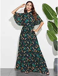 cheap -Women's A-Line Dress Short Sleeves Floral Ruffle Patchwork Summer Elegant Boho Daily Going out Flare Cuff Sleeve 2020 Green M L XL XXL