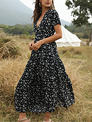 cheap -Women's Swing Dress Maxi long Dress - Short Sleeve Floral Print Summer Deep V vacation dresses White Blue Green S M L XL