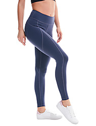 cheap -Women's High Waist Yoga Pants Cropped Leggings Butt Lift 4 Way Stretch Breathable Black Blue Gray Nylon Non See-through Gym Workout Running Fitness Sports Activewear High Elasticity / Full Length