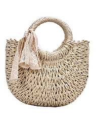 cheap -Women's Bags Straw Top Handle Bag Straw Bag Hollow-out Bohemian Style Solid Color Straw Bag Daily Khaki Beige