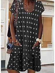 Недорогие -Жен. Платье A-силуэта ひざ丈ドレス - Короткие рукава Горошек Лето На каждый день Муму 2020 Черный Синий Пурпурный Коричневый Светло-синий S M L XL XXL XXXL XXXXL XXXXXL