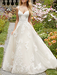 cheap -A-Line Wedding Dresses V Neck Spaghetti Strap Sweep / Brush Train Lace Tulle Sleeveless Country with Embroidery 2020