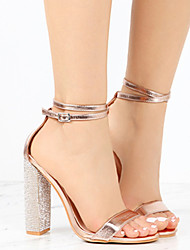 cheap -Women's Sandals Heel Sandals Summer Block Heel Peep Toe Daily PU Black / Gold