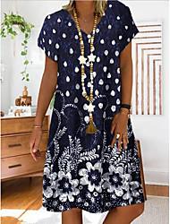 cheap -Women's Shift Dress Knee Length Dress Short Sleeve Floral Print Summer Hot Casual 2021 Red Navy Blue Gray M L XL XXL 3XL 4XL 5XL