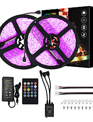 cheap -10M LED Strip Lights Music Sync RGB Tiktok Lights 5050 Sound Activated LED Strip Lights 600 LEDs Color Changing LED Rope Lights SMD 5050 10mm Tape Light with IR Remote and 12V 6A Power Supply