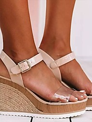 cheap -Women's Sandals Wedge Sandals 2020 Summer Wedge Heel Open Toe Classic Basic Daily Outdoor Color Block PU Walking Shoes Black / White / Black / Pink