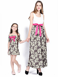 cheap -Mommy and Me Vintage Sweet Geometric Color Block Bow Print Sleeveless Maxi Dress White