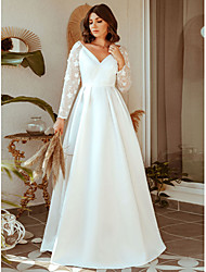 cheap -A-Line Elegant Prom Formal Evening Dress V Neck Long Sleeve Floor Length Lace with 2021