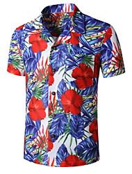 preiswerte -Herrn Grafik Tropisches Blatt Druck Hemd Tropisch Alltag Königsblau