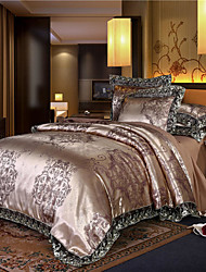 cheap -Tribute Satin Jacquard four-piece set silk quilt set double tencel bed linen wedding european-style bedding