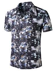 cheap -Men's Graphic Print Shirt Tropical Daily Button Down Collar Black / Short Sleeve