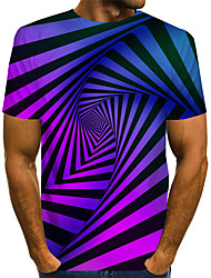 cheap -Men's Graphic 3D Print Blue & White Print T-shirt Basic Exaggerated Daily Black / Blue / Purple / Yellow / Green