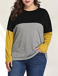 cheap -Women's Plus Size Color Block Patchwork T-shirt Basic Street chic Daily Going out Yellow