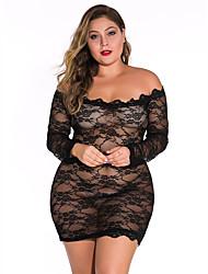 cheap -Women's Lace / Mesh Suits Nightwear Solid Colored Wine White Black XL XXL XXXL