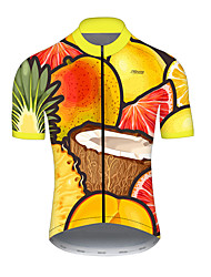 cheap -21Grams Men's Short Sleeve Cycling Jersey Summer Nylon Polyester Yellow Funny Lemon Coconut Bike Jersey Top Mountain Bike MTB Road Bike Cycling Ultraviolet Resistant Quick Dry Breathable Sports