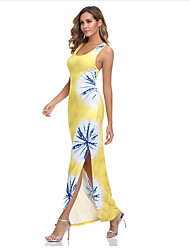 cheap -Women's Cheongsam Dress Maxi long Dress - Sleeveless Print Summer Boho Sexy 2020 Orange S M L XL
